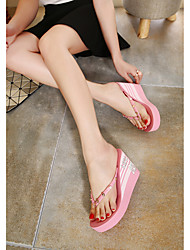 Women's Slippers & Flip-Flops Summer Rubber Casual Flat Heel Rivet Others Black Pink Red White Other