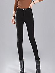 Women's Solid Red / Black Skinny Pants,Simple