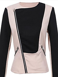 Women's Casual/Daily Simple Fall Jackets,Color Block Peter Pan Collar Long Sleeve Beige Cotton Medium