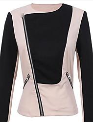 Damen Einfarbig Einfach Lässig/Alltäglich Jacke,Rundhalsausschnitt Herbst Langarm Beige Baumwolle Mittel