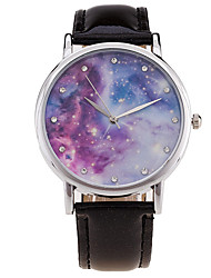 New Fashion Watch Women Star Sky Pattern Rhinestone Casual Quartz Watch Ladies Popular Leather Strap Meteor Wristwatch