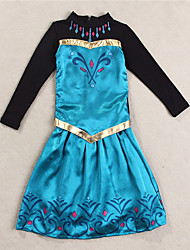 Girl's Party/Cocktail Embroidered DressCotton Spring / Fall Blue