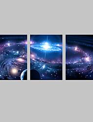 E-HOME® Stretched LED Canvas Print Art Shining Star LED Flashing Optical Fiber Print Set of 3