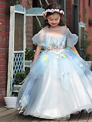 Ball Gown Floor-length Flower Girl Dress - Tulle / Stretch Satin Short Sleeve Jewel with Beading / Flower(s)