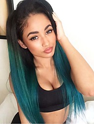 Fashion Long Straight Synthetic Lace Front Wig Glueless 1/green Color For Afro Women Wigs