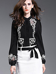Women's Embroidery Casual/Daily Sophisticated Fall ShirtEmbroidered Shirt Collar Long Sleeve Black Polyester Opaque