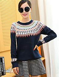 Damen Standard Pullover-Lässig/Alltäglich Einfach / Niedlich Geometrisch Blau / Beige Rundhalsausschnitt Langarm Polyester Herbst / Winter