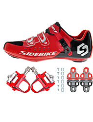 01 Cycling Shoes Unisex Outdoor / Road Bike Sneakers Damping / Cushioning Black / Red-sidebike And Red Rock Pedals