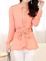 Women's Formal Simple Spring / Fall Shirt,Solid Shirt Collar Long Sleeve Pink / White / Black / Yellow Thin