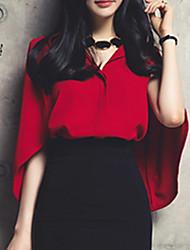 Women's Solid Red Shirt,Shirt Collar Short Sleeve