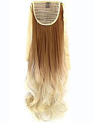 Women Long Wave Curly Synthetic Hair Ponytail Ombre Ribbon Pony Tail Hair Extensions Hair Piece SF88-27T613#