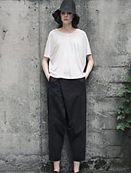 das rizhuo mulheres sólida chinos Primavera Negra pantssimple / queda
