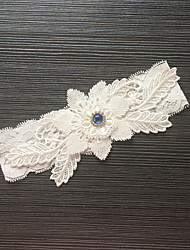 Garter Stretch Satin / Lace Flower / Rhinestone Ivory