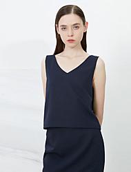 c + impressionar as mulheres de sair sofisticado tanque verão TopSolid v pescoço azul sem mangas de poliéster fino / médio