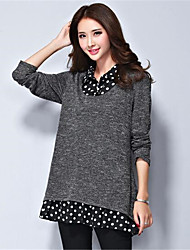 Women's Plus Size / Casual/Daily Simple Regular PulloverPolka Dot Gray Shirt Collar Long Sleeve Polyester