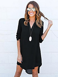 Women's Going out / Formal Simple / Street chic Loose DressSolid V Neck Above Knee Long Sleeve Black / Gray /