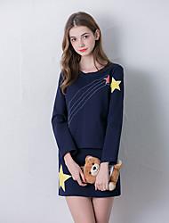 Linjou Women's Going out Cute Fall Set SkirtPrint Round Neck Long Sleeve Blue Cotton Medium