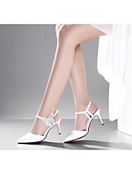 Damen-High Heels-Lässig-Gummi-StöckelabsatzSchwarz / Weiß