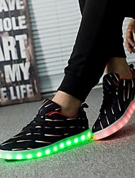 Homme Baskets Confort Synthétique Printemps Eté Automne Hiver Décontracté Confort Lacet LED Talon Plat Noir Plat