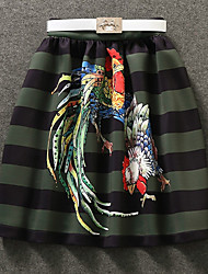 Damen Röcke - Einfach Knielang Polyester Unelastisch