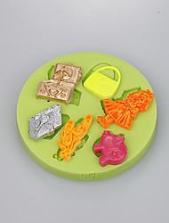 6 полости женщин мешок вещи силиконовые формы для помадки торт украшения инструменты цвет случайным