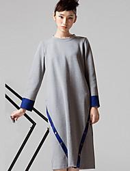 occasionnel / journalier simple lâche bloc RobeColor col rond genou manches longues des femmes room404
