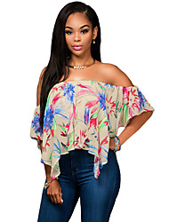 Women's Multicolor Print Off Shoulder Apricot Crop Top
