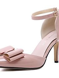 Damen-High Heels-Outddor-PU-Stöckelabsatz-Absätze-Schwarz / Rosa