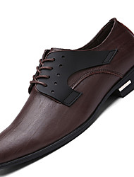 Men's Oxfords Comfort Leather Office & Career / Party & Evening / Casual Flat Heel Lace-up Black / Brown