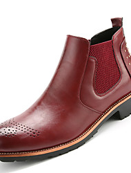 Men's Boots Fashion Boots / Bootie Cowhide / Leather Casual Flat Heel Lace-up  Ankle Boots