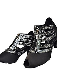 Damen-High Heels-Outddor Lässig-Leder-StöckelabsatzSchwarz