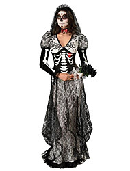 Cosplay Costumes / Party Costume Zombie Festival/Holiday Halloween Costumes Black Print Dress / Headwear Halloween Female Terylene