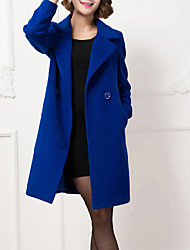Women's Going out / Casual/Daily Simple / Sophisticated Trench Coat,Solid Shirt Collar Long Sleeve Fall