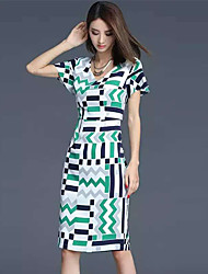 Boutique S Women's Going out Sophisticated Sheath DressGeometric Round Neck Above Knee Short Sleeve Green