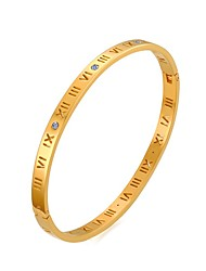 Pulseiras Bracelete Aço Inoxidável / Strass / Chapeado Dourado Formato Circular Fashion / Estilo PunkHalloween / Aniversário / Casamento