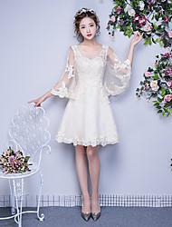 Платье для невесты с длинным рукавом длиной до колена