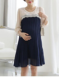 3Colors Quality Pregnant Women Elegent Lace Chiffon Dress Korean Style Maternity Long Pleated Dresses