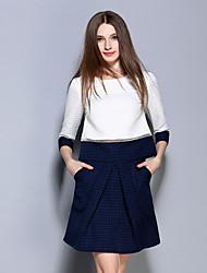 AINIER  Women's Formal Simple Spring Set SkirtColor Block / Jacquard Round Neck Sleeve White Polyester Medium
