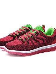 As mulheres de sapatos de corrida de atletismo primavera / outono tecido conforto casual calcanhar plana verde / sapatilha vermelha