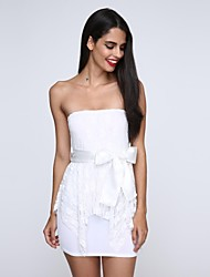 Women's Lace/Bow Strapless Mini Dress,Chiffon/Cotton Blue/White/Black/Green Sexy/Bodycon/Party