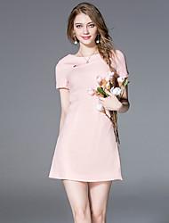 jojo hans femmes sortant gaine simple dresssolid col rond au-dessus du genou manches courtes rose / noir