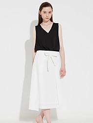 c + beeindrucken Frauen solid weiß / schwarz skirtssophisticated midi