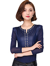 Spring Fall Going out Casual Women's Tops Fashion PU Patchwork V Neck Long Sleeve Slim Blouse