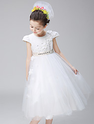 Ball Gown Knee-length Flower Girl Dress - Cotton / Lace / Organza Short Sleeve Jewel withAppliques / Beading