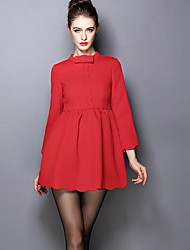 Women's Casual/Daily Simple A Line Dress,Solid Stand Above Knee Long Sleeve Red Polyester Fall