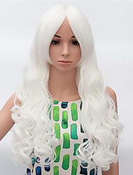 Fashion Long Curly Wig White Color Synthetic African American Women Wigs