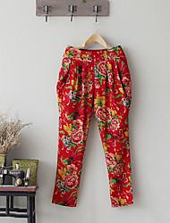 Pantalon Aux femmes Harem Chinoiserie Lin Non Elastique