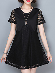 Women's Lace  Summer  Loose Hook Flower Hollow Lace Short-Sleeved Retro Dress