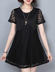 Mulheres Rendas Vestido,Casual / Tamanhos Grandes Vintage / Moda de Rua Sólido Decote Redondo Mini Manga Curta Rosa / Branco / Preto