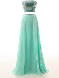 A-Line Strapless Floor Length Chiffon Formal Evening Dress with Beading
